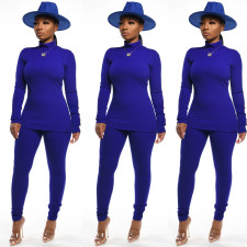 Turtleneck Solid Color Two-Piece Suit SFY-064