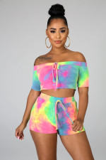 Tie Dye Print Slash Neck Two Piece Shorts Set WSM-5129