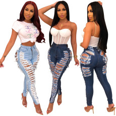 Broken Hole High Waist Denim Jeans HSF-2080