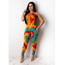 Tie Dye Print Bodysuit And Pants 2 Piece Sets ASL-6255