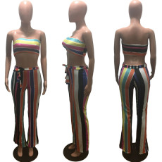 Colorful Stripe Tube Top And Pants 2 Piece Sets OM-1108