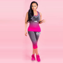 Plus Size Pink Letter Print Fitness Two Piece Sets QY-5161
