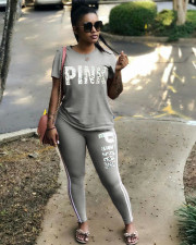 Plus Size Pink Letter Print T Shirt Pants 2 Piece Set LSD-8050