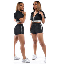 Casual Tracksuit Hooded Zipper 2 Piece Shorts Set MX-10868