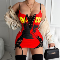 Sexy printed Bandage Mini Dress AIL-080