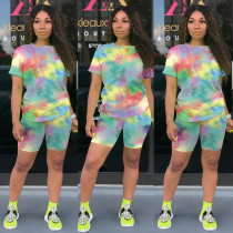 Plus Size Tie Dye Print Two Piece Shorts Set TE-3982