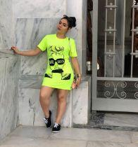 Casual Printed Short Sleeve O Neck T Shirt Dress CH-8046
