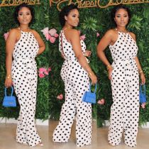Polka Dot Print Sleeveless Open Back Jumpsuits YIS-639