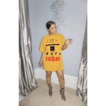 Casual Loose Letter Print O Neck T Shirt Dress ASL-6250