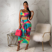 Sexy Tie Dye Print Tank Top Long Skirt Sets SH-3746
