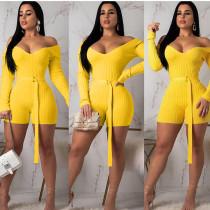 Solid Ribbed Slash Neck Sashes Bodycon Rompers ARM-8118
