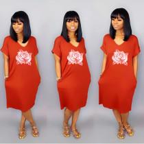 Casual Loose V Neck Short Sleeve T Shirt Dress SHD-9121