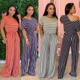 Plus Size Loose Striped Short Sleeve Jumpsuits CL-6042-1