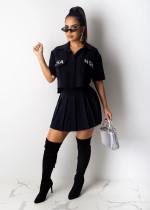 Letter Short Sleevs Pleated Short Skirt Suit SHD-9198