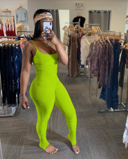 Solid Ruched Spaghetti Strap Bodycon Jumpsuits YH-5131