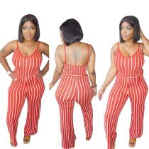 Sexy Stripe Spaghetti Strap Sashes Jumpsuits SHD-9005