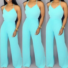 Sexy Solid Backless Cross Strap Jumpsuits SHA-6068