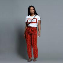 Fashion Snake Pattern Pants Short Sleeve Suit SHD-9154