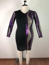 Plus Size Seuqin Patchwork Fat MM Bodycon Dress OSM2-5270