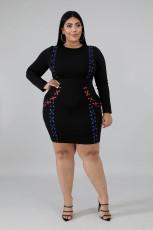 Plus Size 5XL Long Sleeve Fat MM Bodycon Dress OSM2-6076