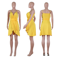 Sexy V Neck Spaghetti Strap Mini Dress NIK-097