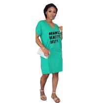 Letter Print V Neck Short Sleeve T Shirt Dress ARM-8156
