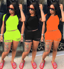Plus Size Solid Short Sleeve Two Piece Sets RSN-733
