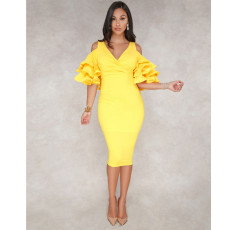 Solid Color V-neck Midi Dress YF-9184