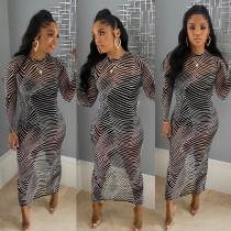 Sexy Stripe Long Sleeve Slim Maxi Dress YF-9589