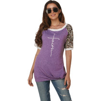 Leopard Print Short Sleeve Casual T Shirt FNN-8351