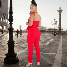 Sexy Solid Spaghetti Strap Sashes Jumpsuit YF-9366