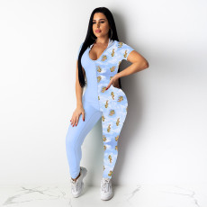 Contrast Color Hooded Backless Bodycon Jumpsuit YF-9587