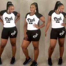 Plus Size Letter Print T Shirt And Shorts 2 Piece Sets LP-6195
