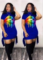 Plus Size Casual Lips Print Short Sleeve Mini Dress LM-8136