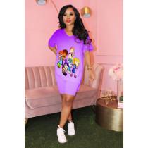 Gradient Cartoon Print Split T Shirt Shorts 2 Piece Set MEI-9080