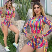 Plus Size Tie Dye Print Hooded Two Piece Sets MDF-5119