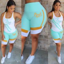 Pink Letter Print Tank Top Shorts 2 Piece Sets Plus Size MTY-6301