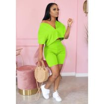 Plus Size Solid Casual Two Piece Shorts Set MTY-6305