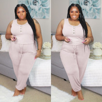 Plus SIze Solid Sleeveless Casual Jumpsuit MTY-6300