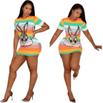 Plus Size Sequin Cartoon Mini T Shirt Dress FNN-8203-1
