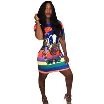 Plus Size Colorful Stripe Sequin Donald Duck Mini Dress FNN-8213-1