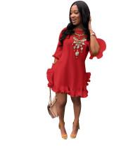 Plus Size Solid Half Sleeve Pleated Irregular Mini Dress FNN-8169