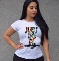 Letter Print Short Sleeve O Neck T Shirt MX-10878