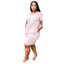 Letter Print Short Sleeve O Neck T Shirt Dress KSN-D5122