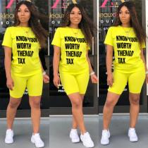 Letter Print T Shirt Shorts Casual 2 Piece Suits LQ-LY5821