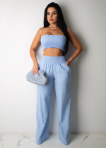 Sexy Tube Top Wide Leg Pants Two Piece Suits BS-Z1176
