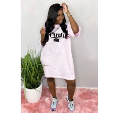Pink Letter Print Short Sleeve Loose T Shirt Dress Plus Size LP-S6203