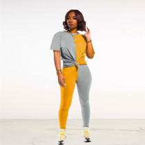 Contrast Color Short Sleeve Two Piece Pants Suit FNN-N8364