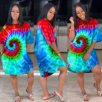 Plus Size Tie Dye Print Casual Loose Half Sleeve Dress HGL-H1203
