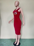 Letter Print Ruched Sleeveless Midi Dress BN-B9228